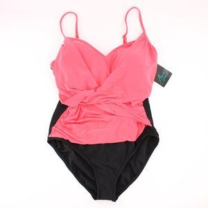 NWT Color Block One Piece Pink Black XL